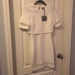 White scuba dress w/ sheer cut outs